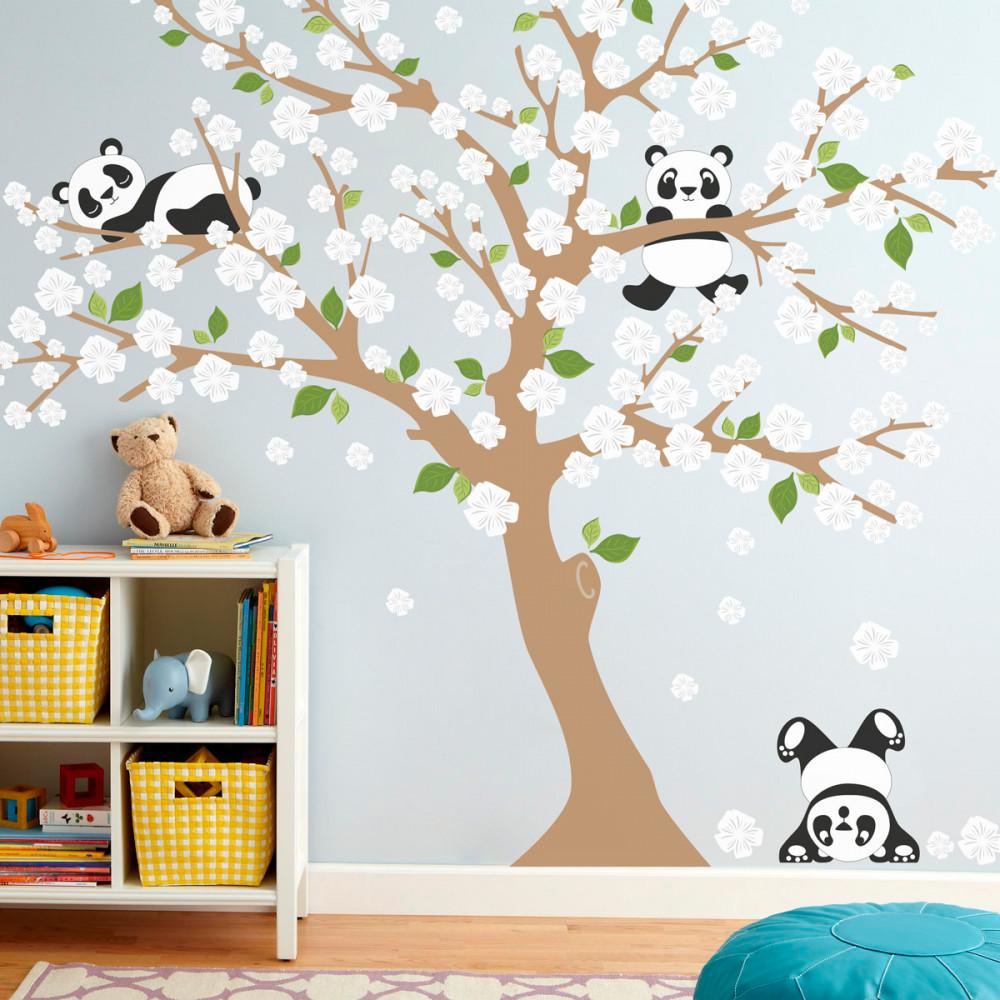 Adesivo de Parede Infantil Árvore Pandas Flores