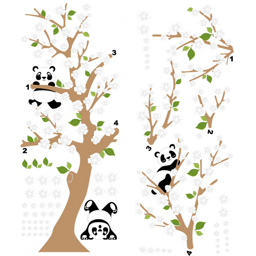 Adesivo de Parede Infantil Pandas Flores