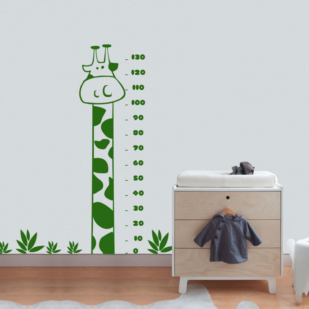 Adesivo de Parede Decorativo Régua Medidora Girafa