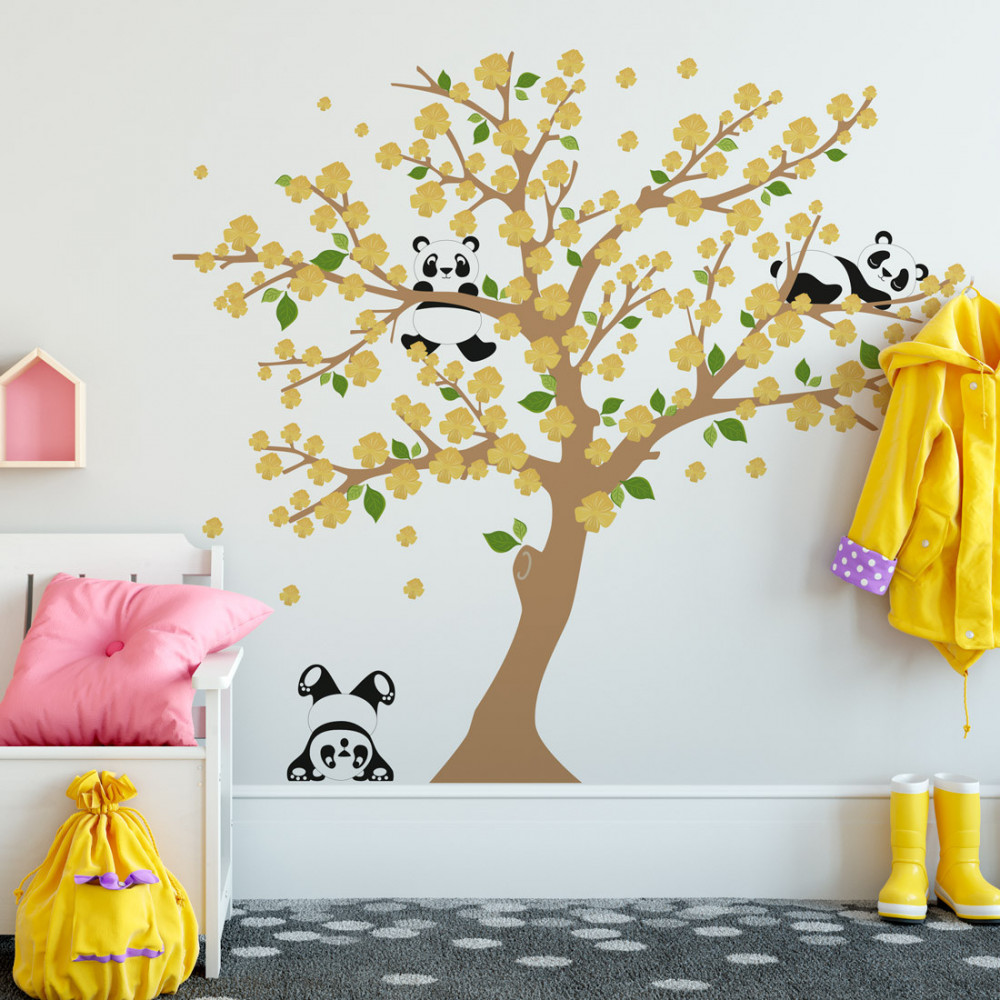 Adesivo de Parede Árvore Pandas - Flores Amarelas