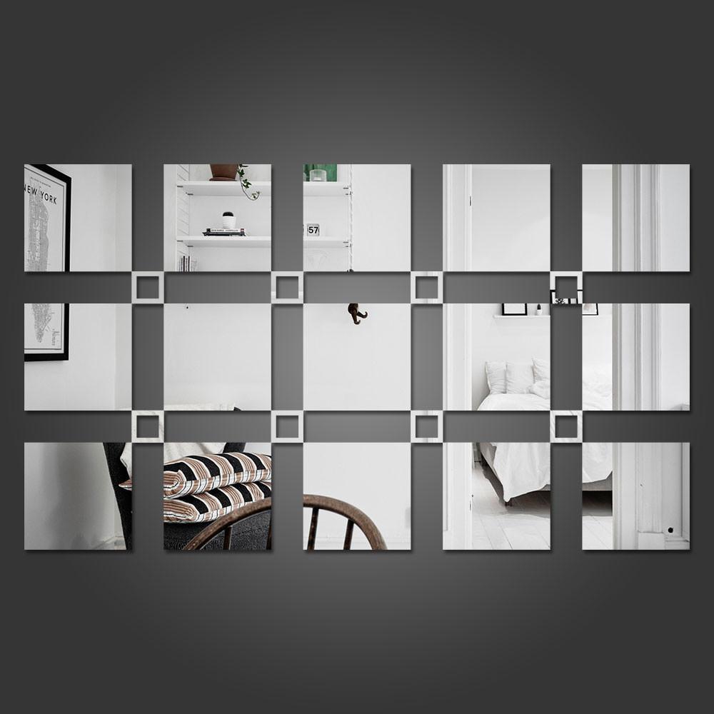 Espelho Decorativo Quadrados Cheios e Vazados Personalizável