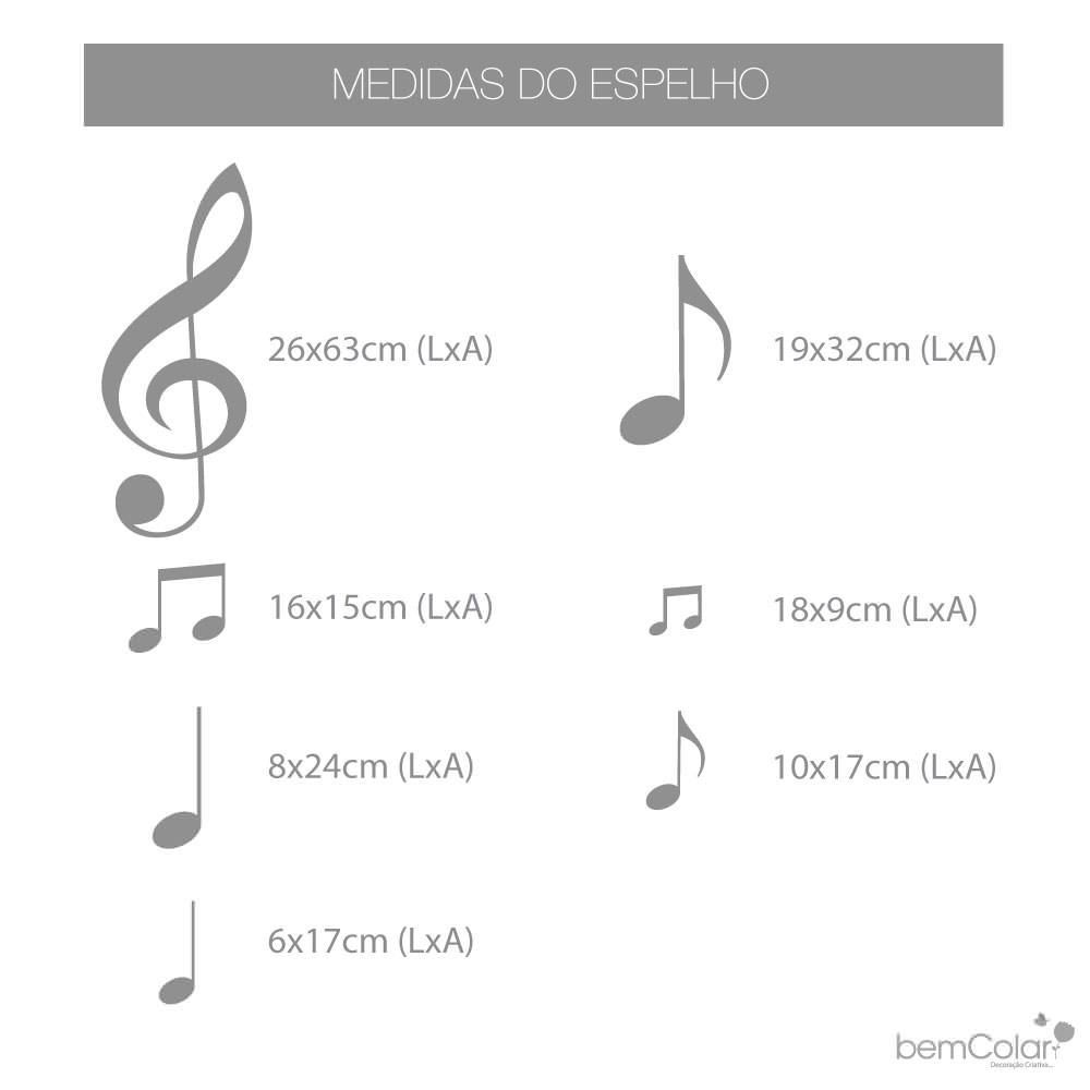Medidas. Espelho Decorativo Notas Musicais