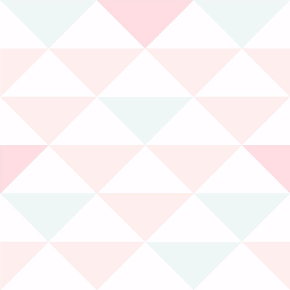 Papel De Parede Infantil Triângulos Tons de Rosa e Verde