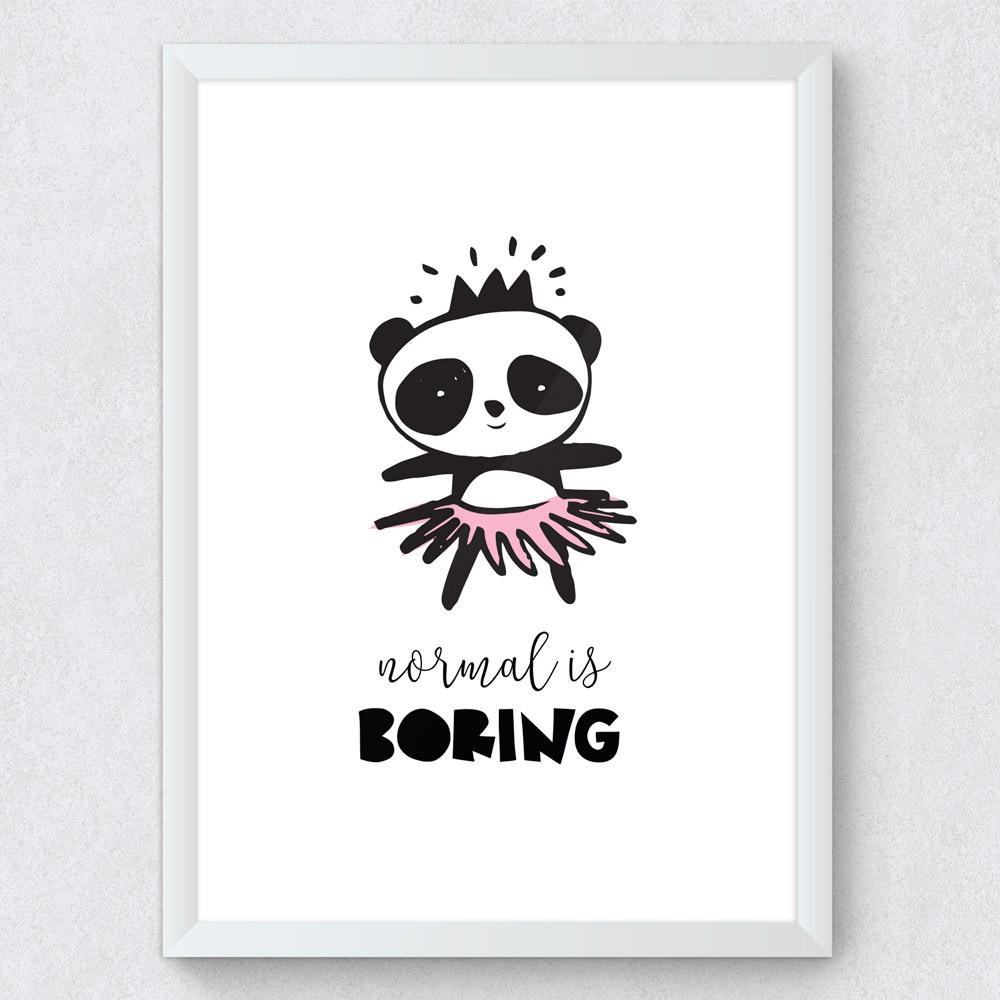 "Quadro Decorativo Infantil Panda ""Normal Is Boring"""