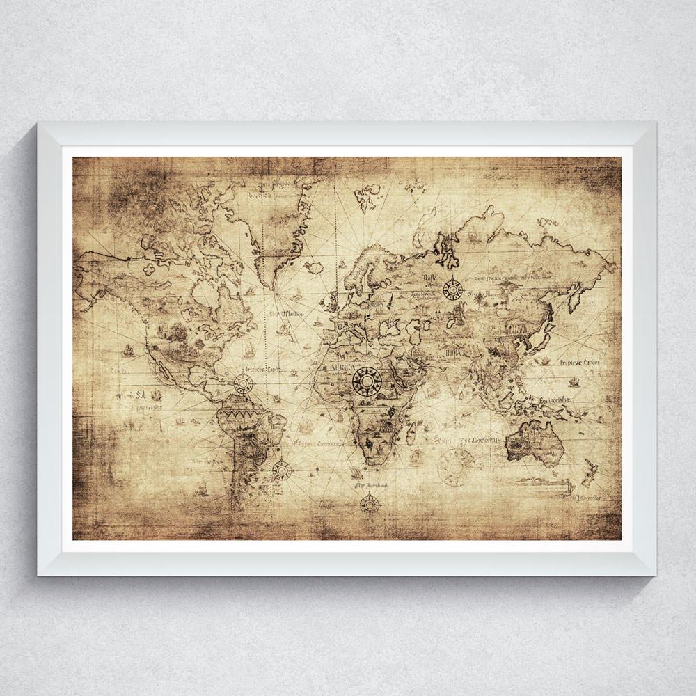 Quadro Decorativo Mapa Mundi Antigo