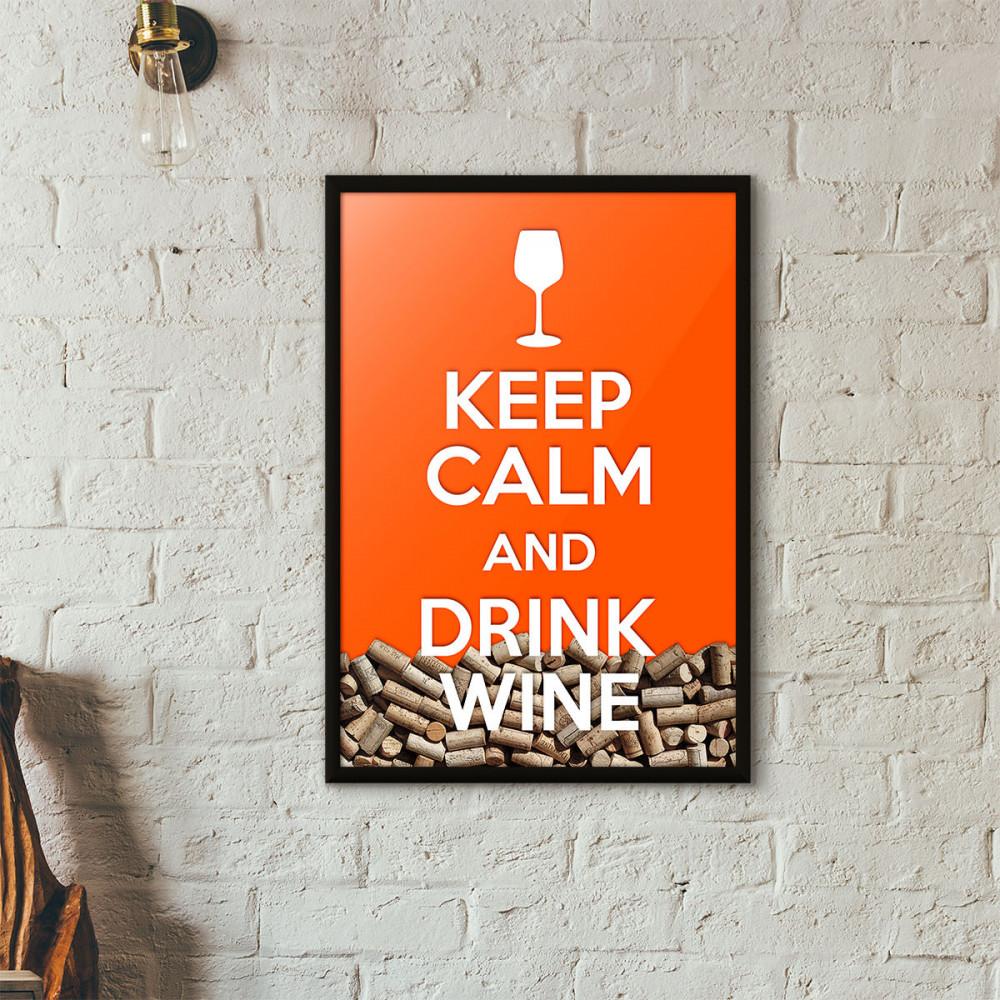 """Quadro Porta Rolhas de Vinho - """"Keep Calm And Drink Wine"""" (Moldura Preta) - Fundo Laranja"""
