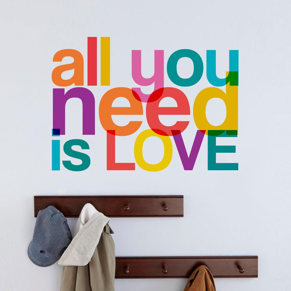 Adesivo Janela Privacidade ~ Adesivo de Parede All You Need Is Love Colorido bemColar Adesivos De Parede