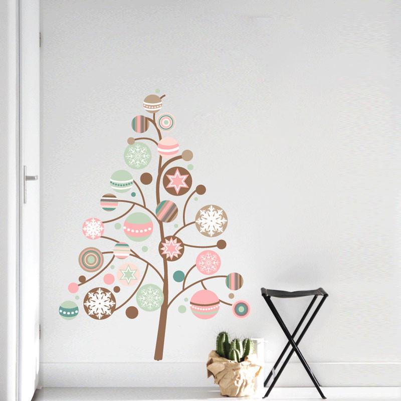 Adesivo Decorativo Árvore de Natal com Bolas Coloridas