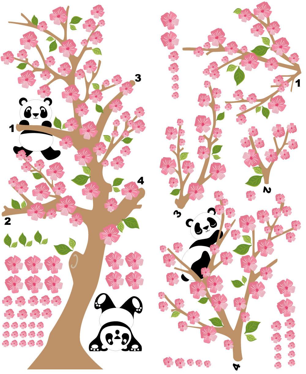 Adesivo de decorativo Árvore Pandas