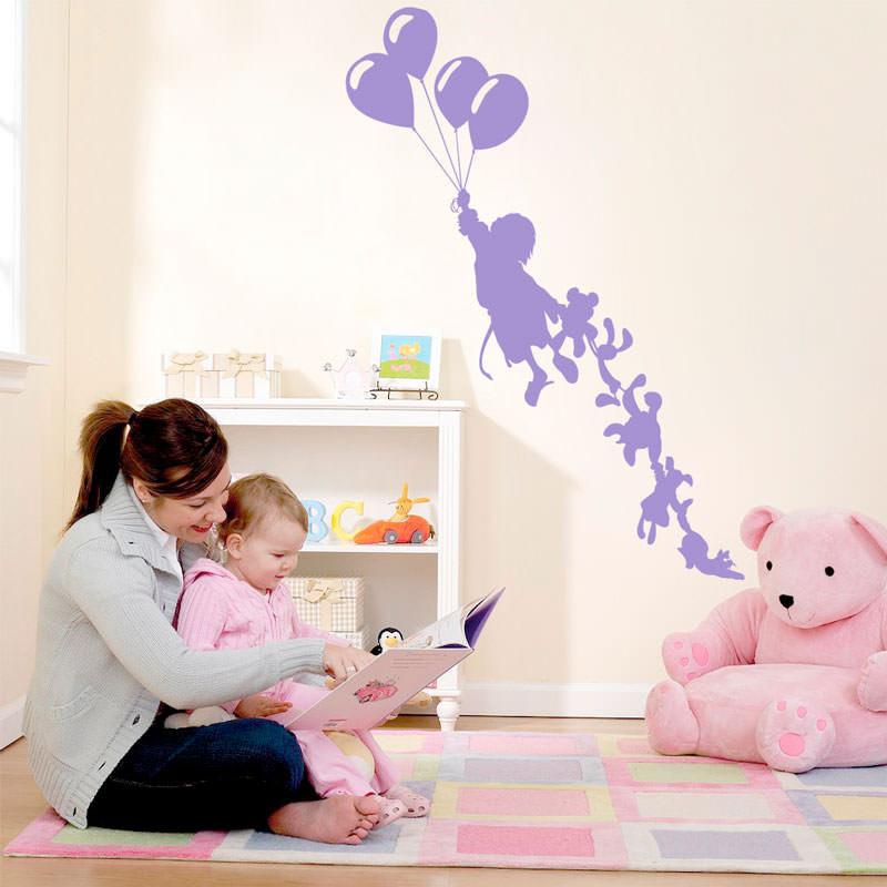 Adesivo de Parede Criança e Balões Menina