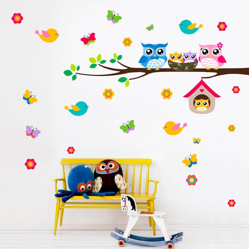 Adesivo Decorativo Infantil Corujas Coloridas II