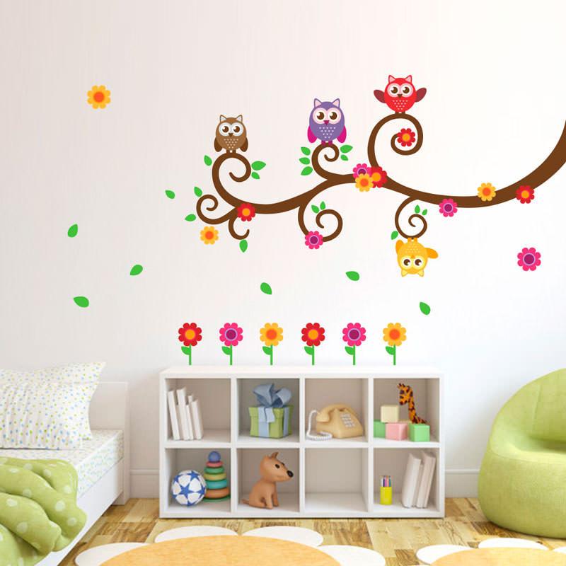 Adesivo Decorativo Corujas Coloridas