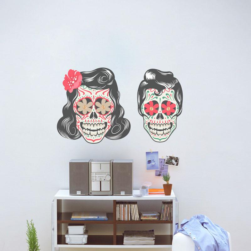 Adesivo de Parede Decorativo Casal Caveira Mexicana