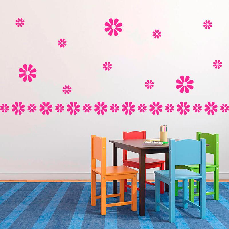 Adesivo de Parede Decorativo Kit de Flores Margarida