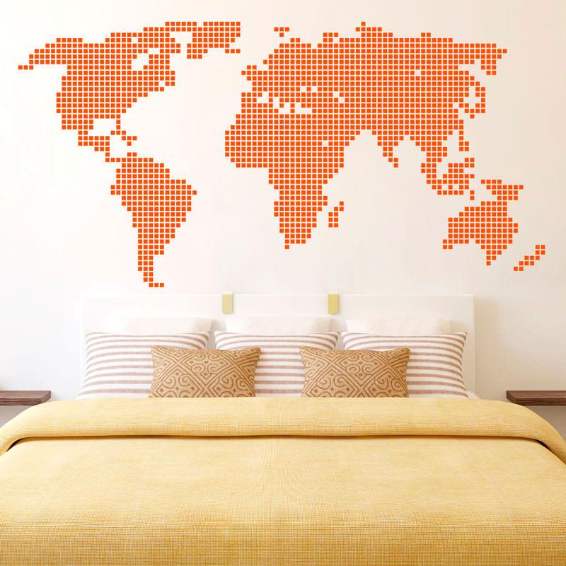 Adesivo Decorativo Mapa Mundi Ladrilhado II