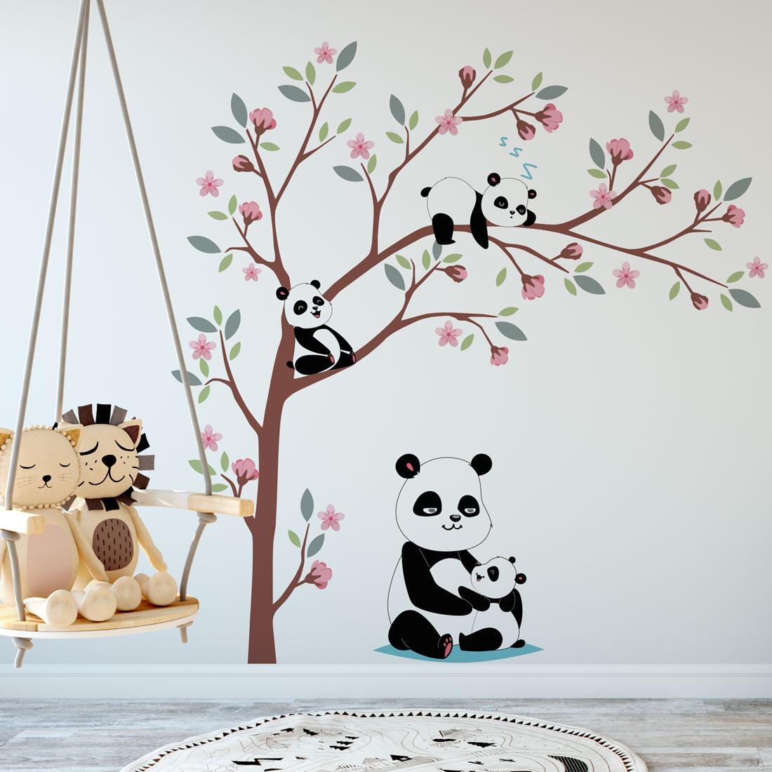 Adesivo de Parede Mamãe Panda filhos na árvore