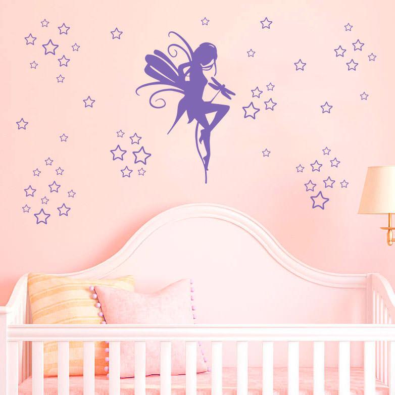 Adesivo Decorativo Fada com Estrelas