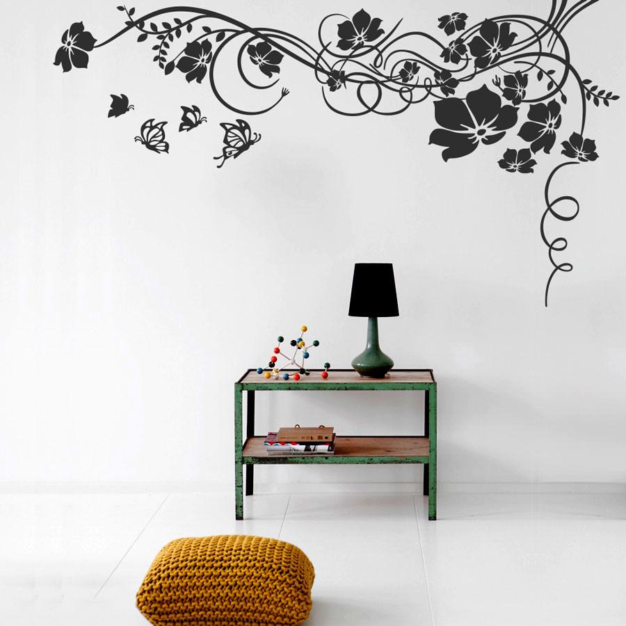 Adesivo de Parede Floral Borboletas