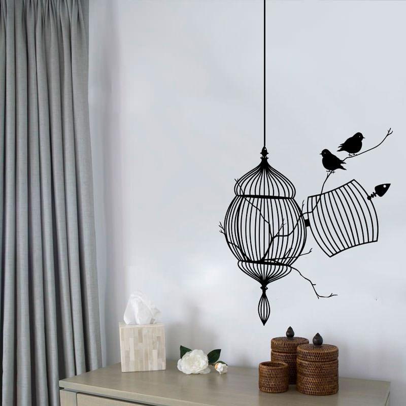 Adesivo Decorativo de Parede Gaiola e Pássaros