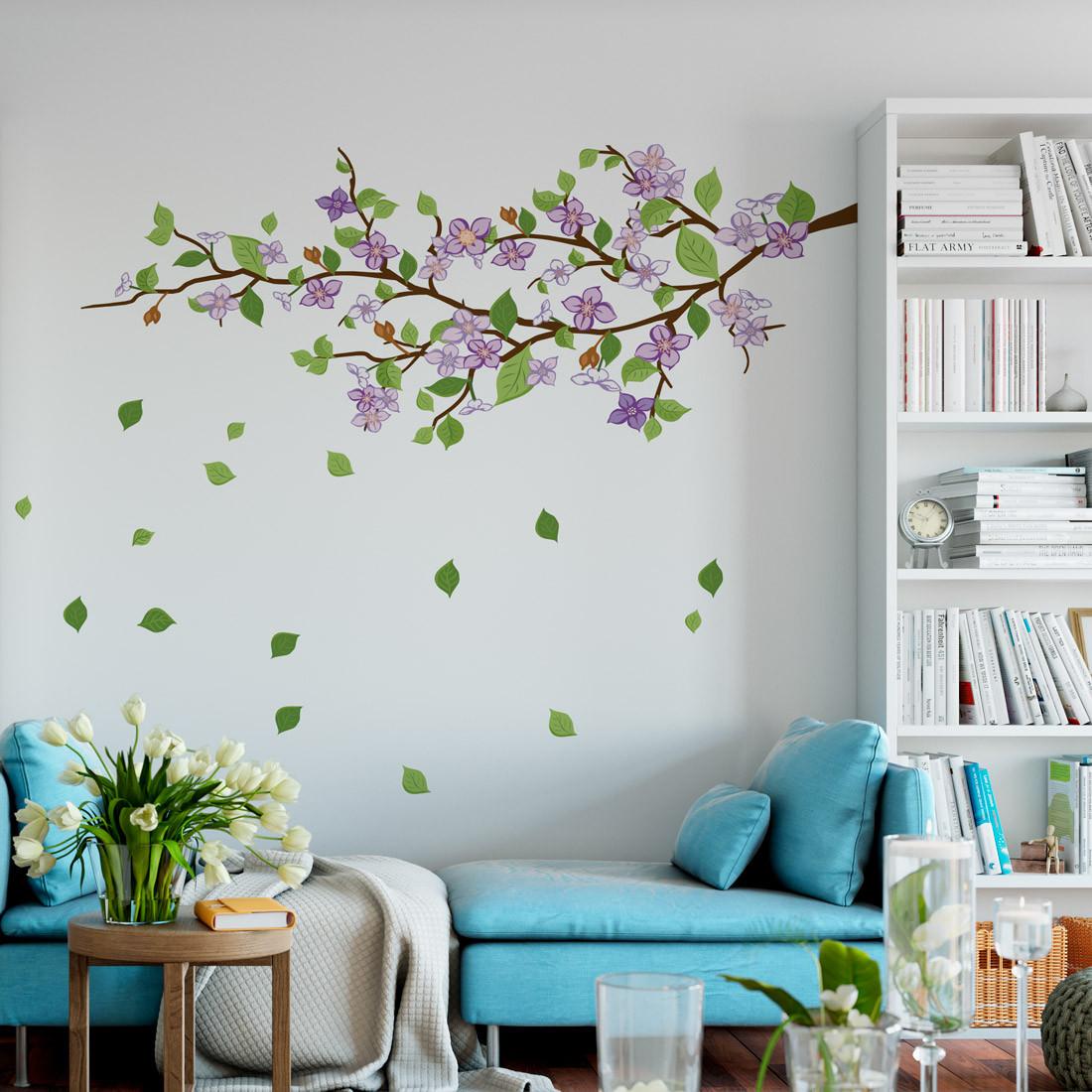 Adesivo de Parede Decorativo Galho Floral Lilas