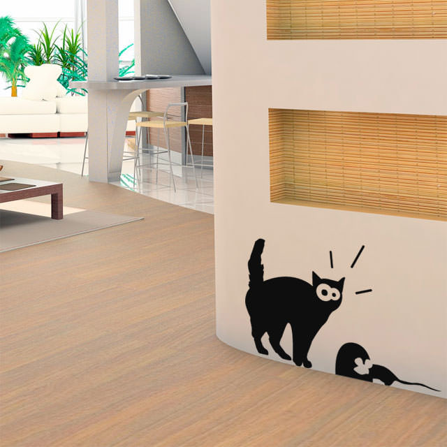 Adesivo Decorativo Gato e Rato