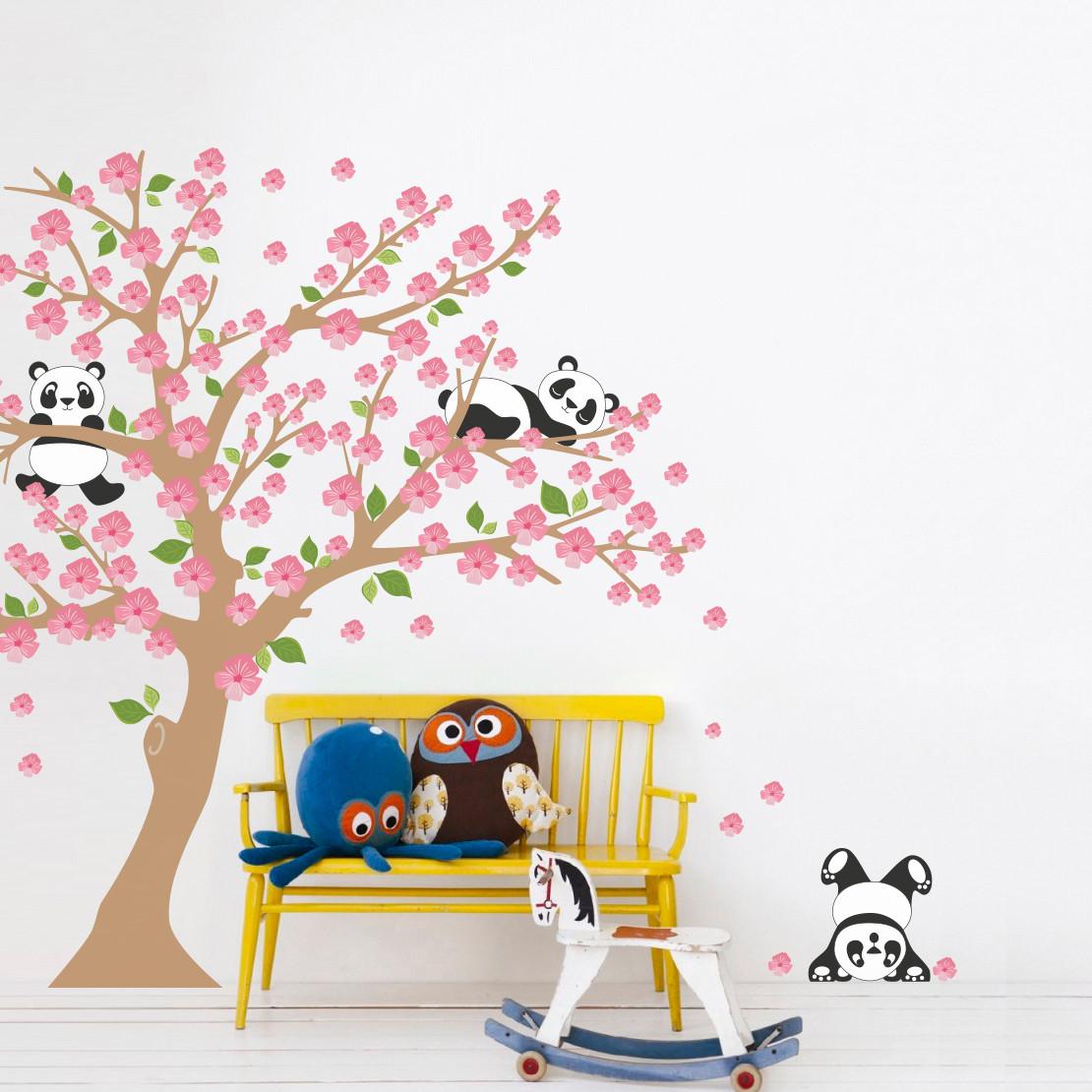 Adesivo de Parede Infantil Árvore Pandas