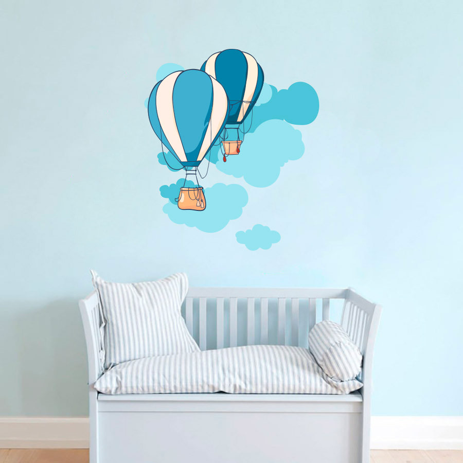 Adesivo de Parede Infantil Balões e Nuvens