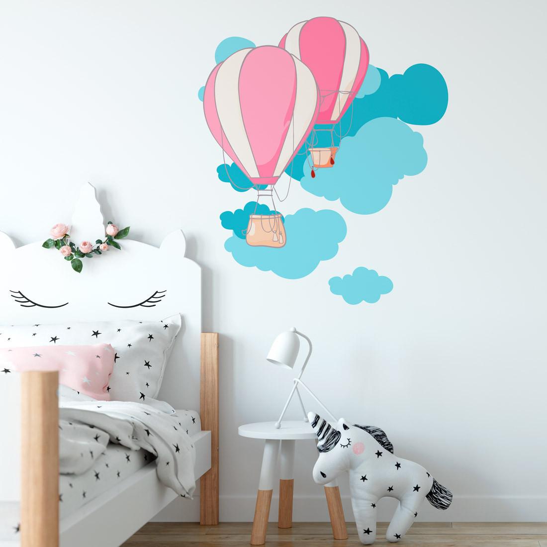 Adesivo de Parede Infantil Balões Rosa e Nuvens