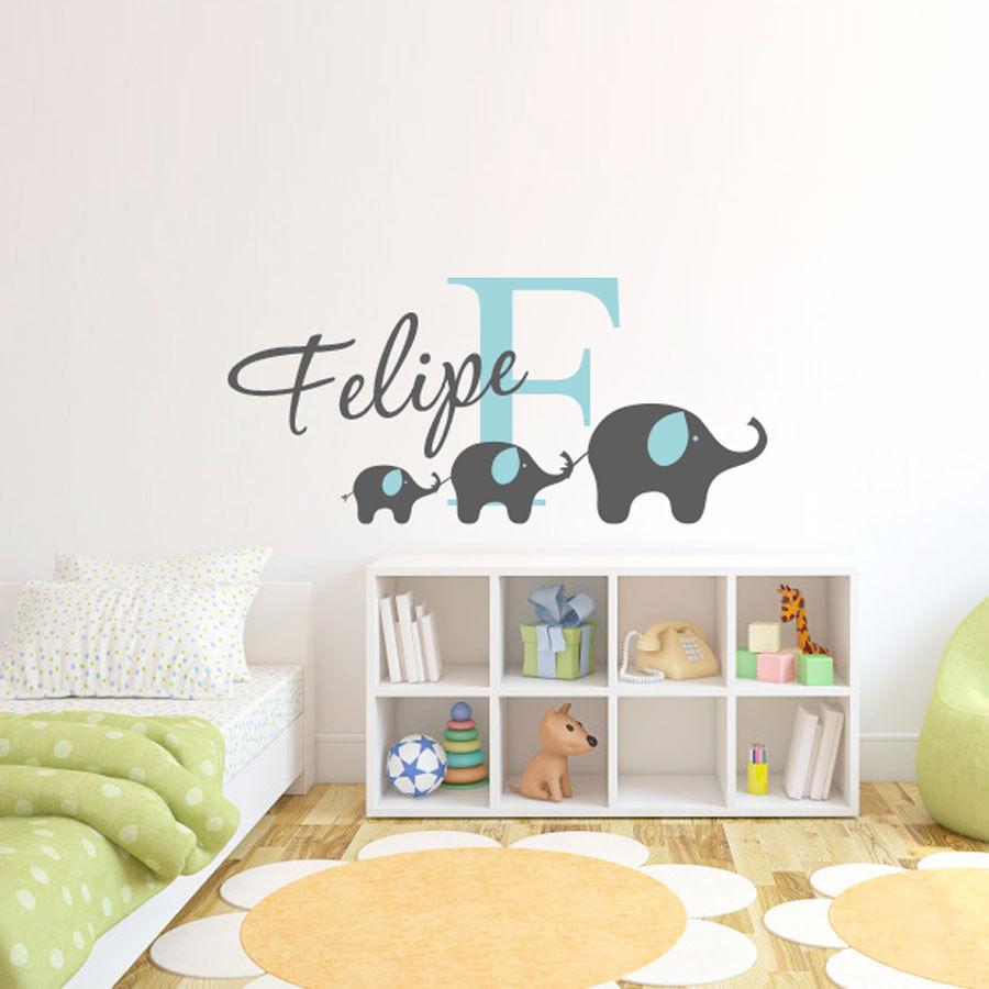 Adesivo de Parede Infantil Elefantes Como Nome Personalizado
