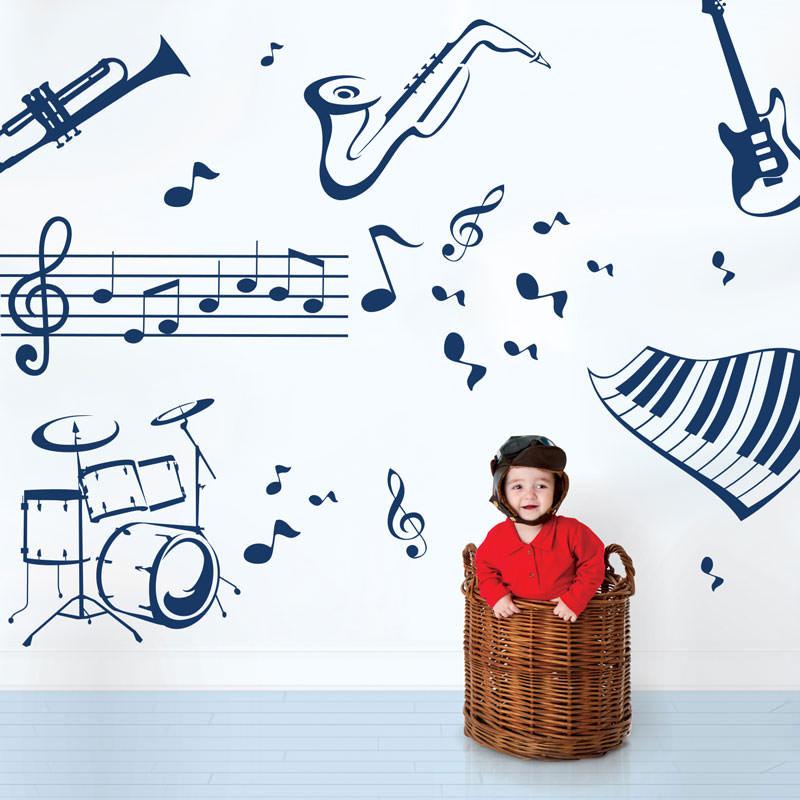 Adesivo de Parede Instrumentos e Notas Musicais