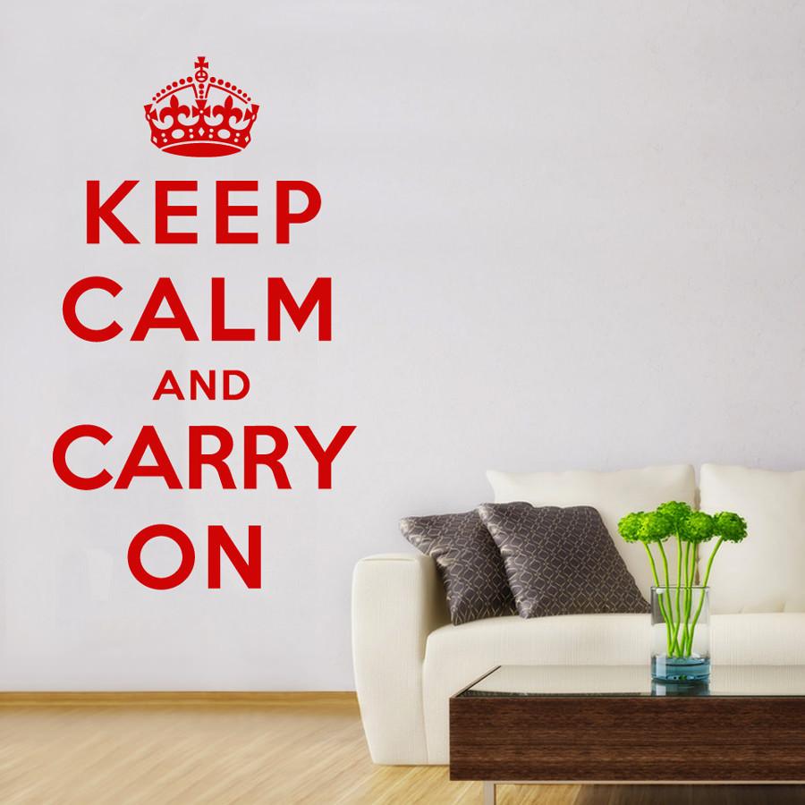 Adesivo de Parede Keep Calm and Carry On bemColar Adesivos De Parede