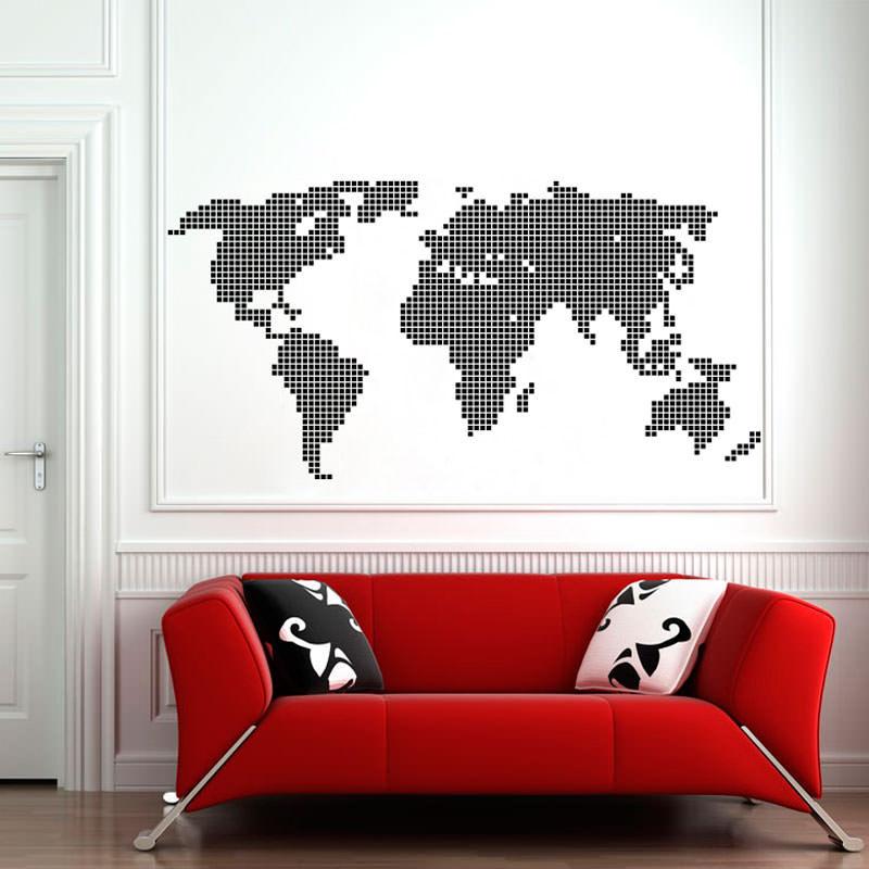 Adesivo de Parede Mapa Mundi Ladrilhado II