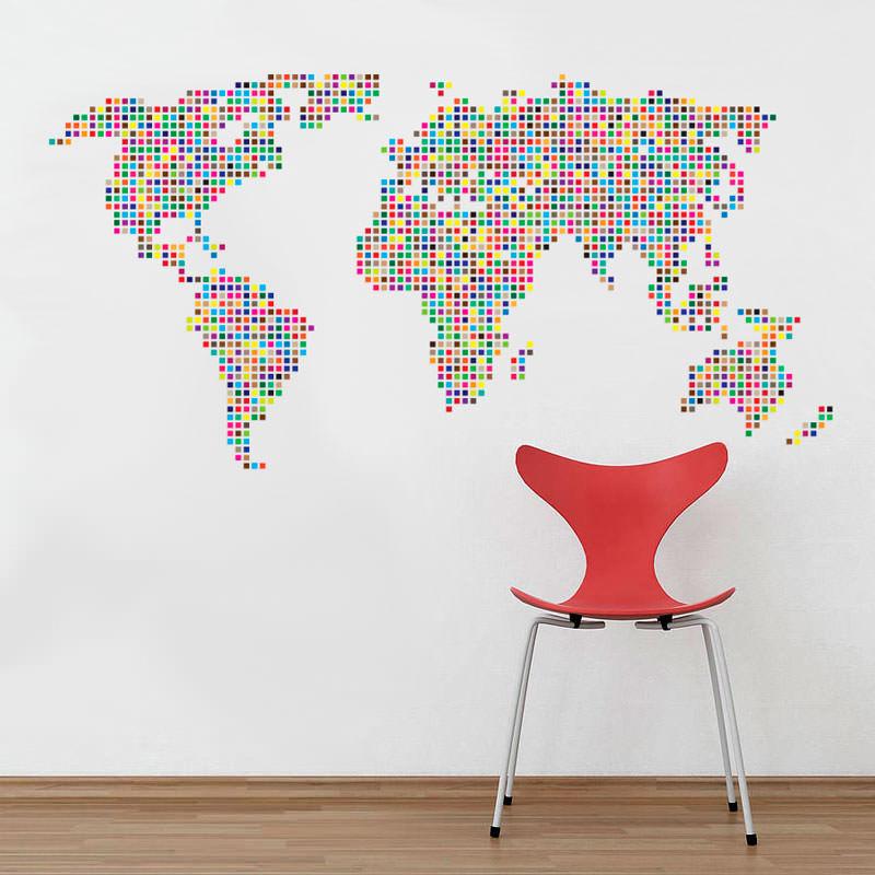 Artesanato Garrafa Pet Para O Natal ~ Adesivo de Parede Mapa Mundi Ladrilhado bemColar Adesivos De Parede