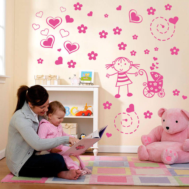 Adesivo de parede menina espiral cora es bemcolar for Papel vinilico infantil