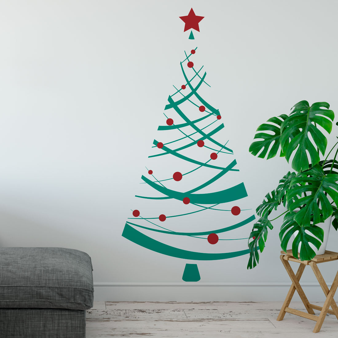 Adesivo de Parede Árvore de Natal Linhas
