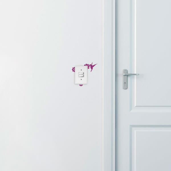 Adesivo de Parede para Interruptor Beija Flor