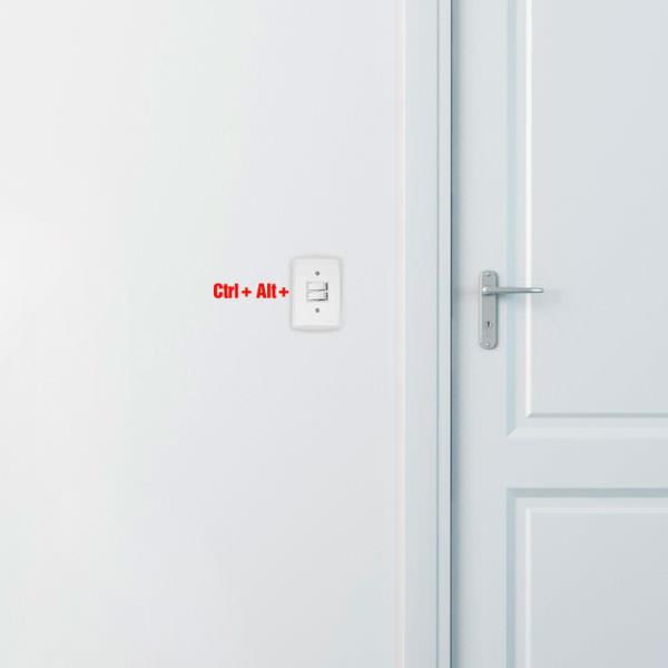 Adesivo Decorativo para Interruptor Ctrl + Alt + Del