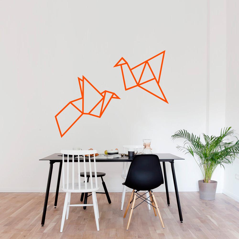 Adesivo de Parede Pássaros Origami