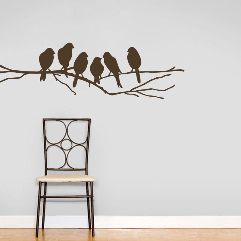 Artesanato Util Em Tecido ~ Adesivo de Parede Pássaros bemColar Adesivos De Parede