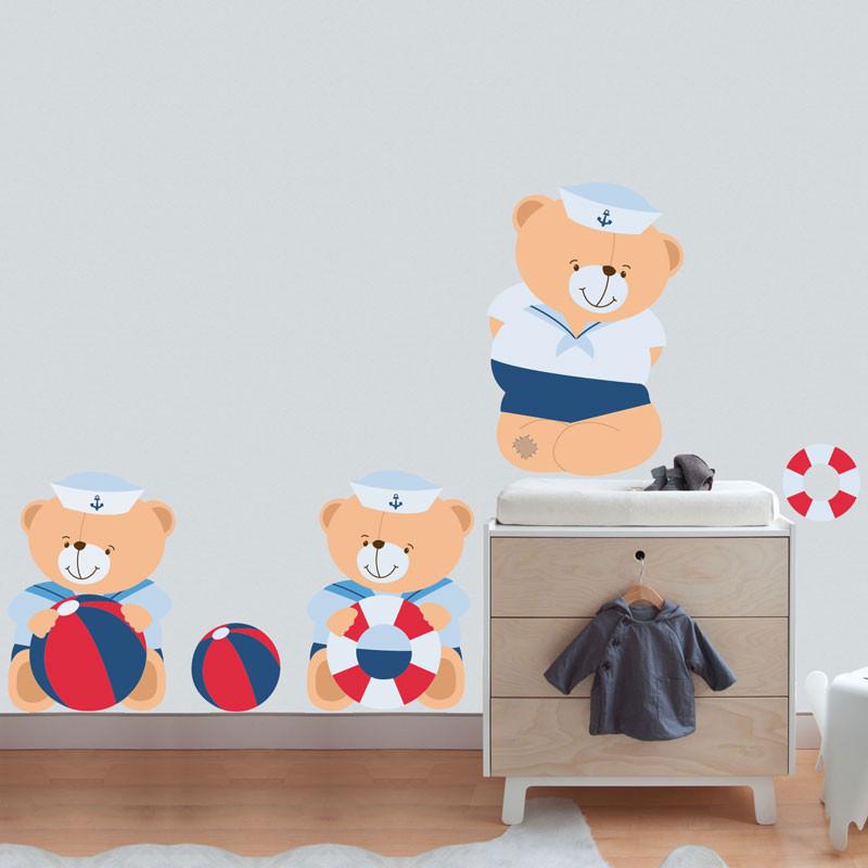 Adesivo de Parede Infantil Ursos Marinheiros