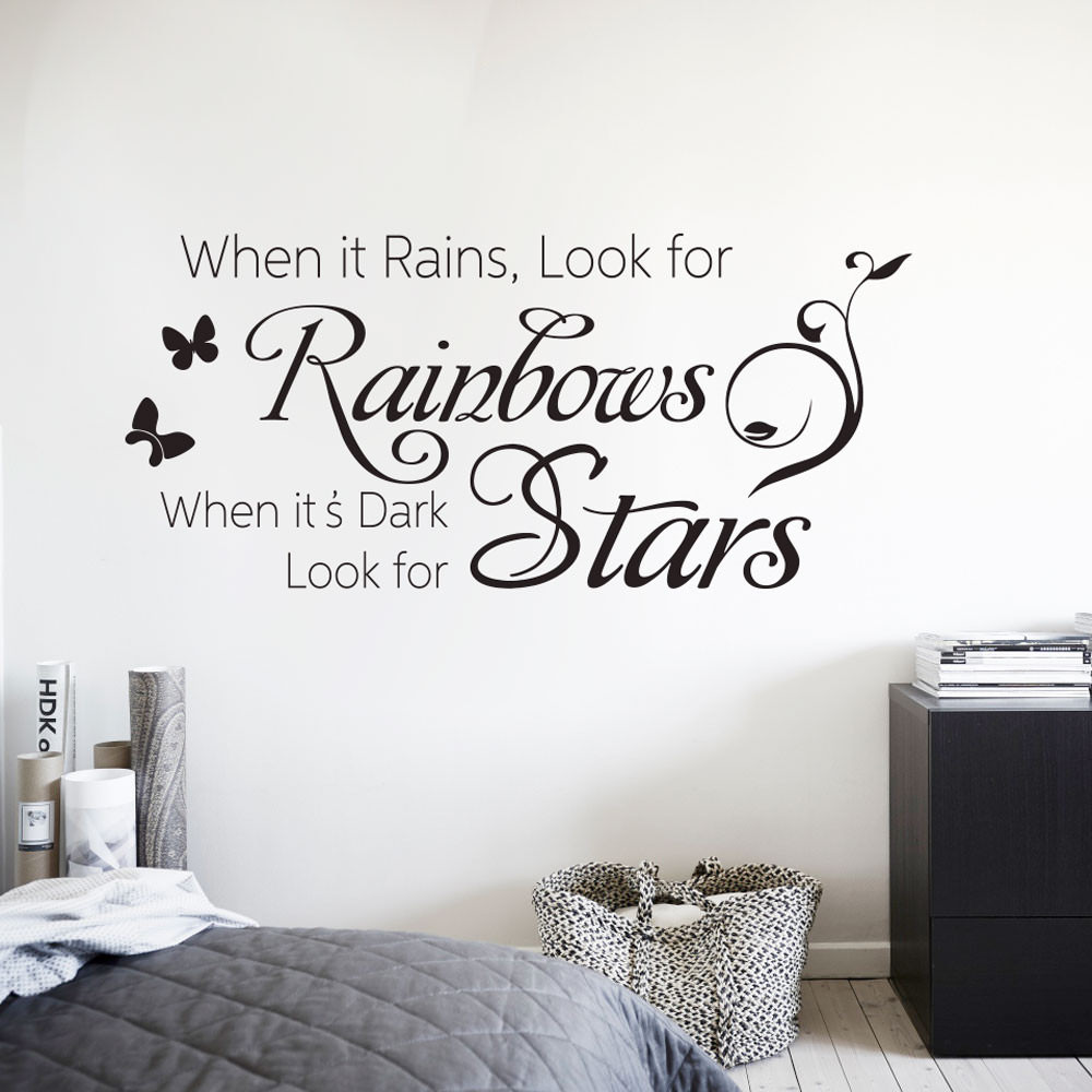 Adesivo de Parede Frase When it Rains, Look for Rainbows...