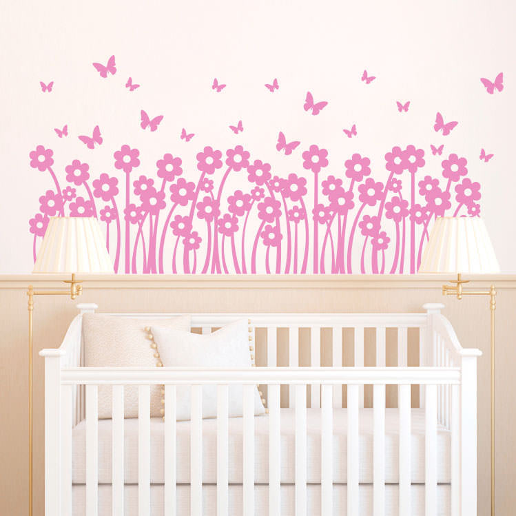 Adesivo Decorativo de Parede Infantil Jardim de Flores