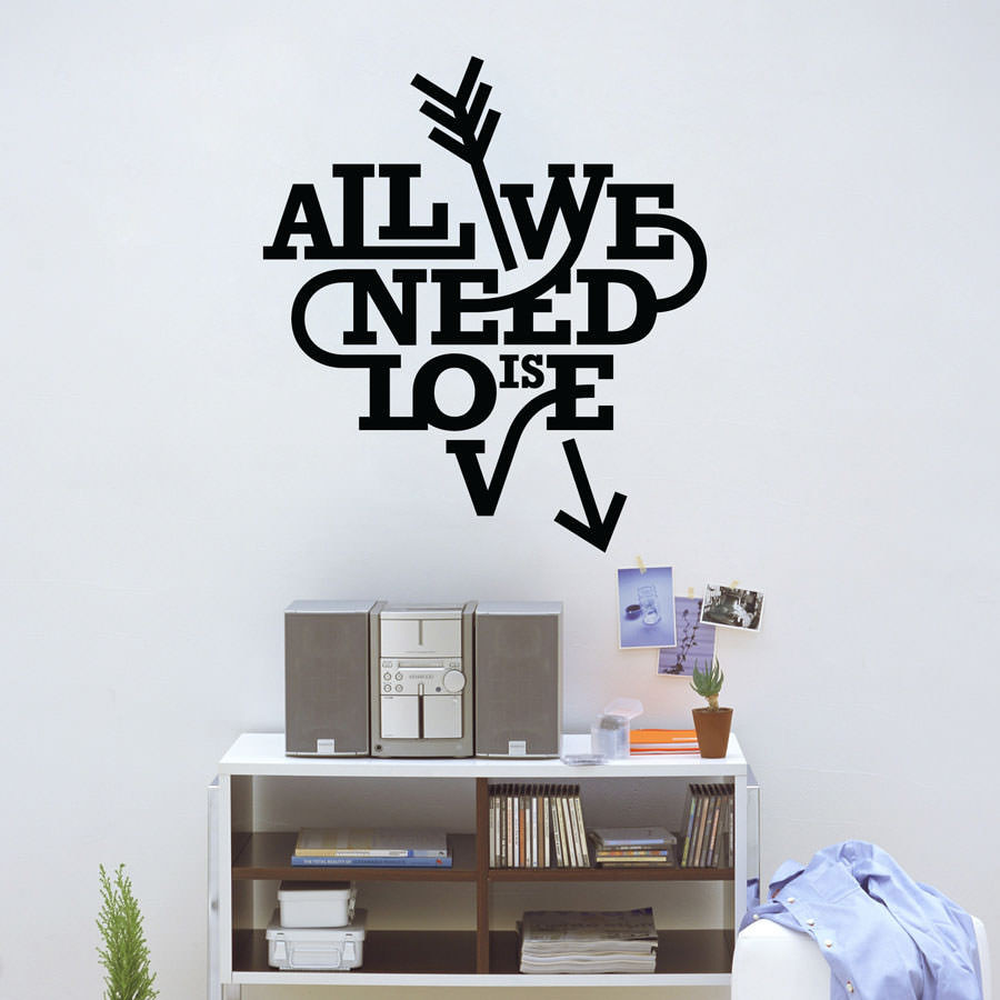 Adesivo Decorativo de Parede All You Need Is Love II