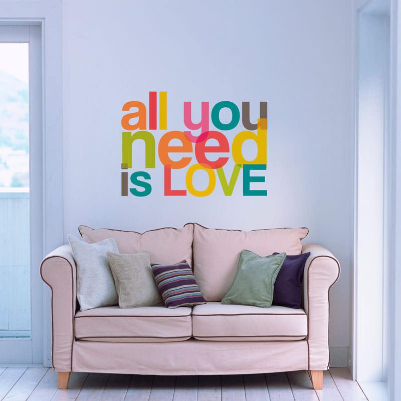 Adesivo Decorativo de Parede All You Need Is Love Colorido