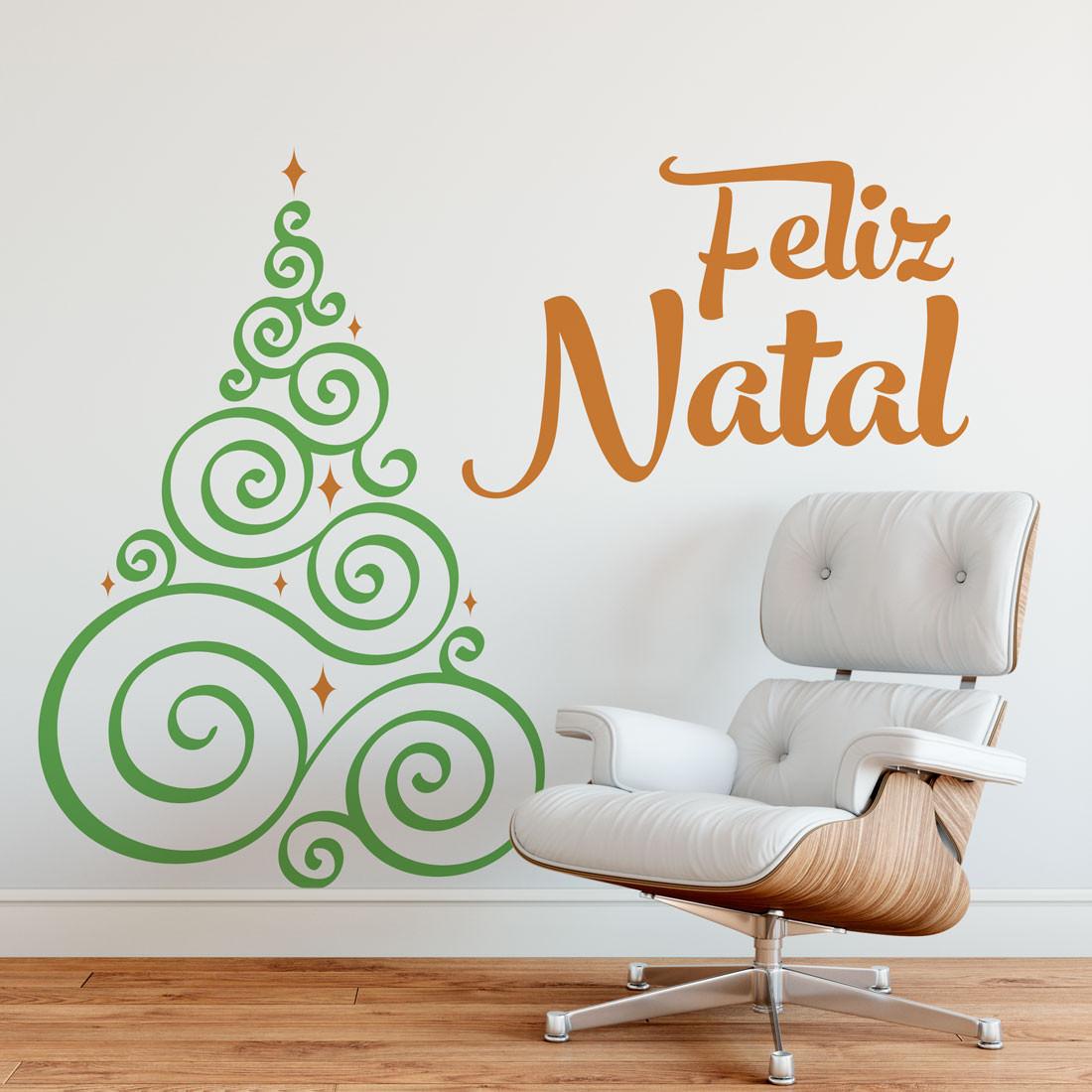 Adesivo de Parede Árvore de Natal Fitas Espiral