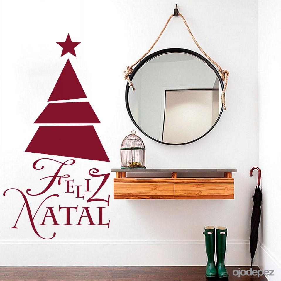 Adesivo de Parede Natalino Árvore de Natal Geométrica