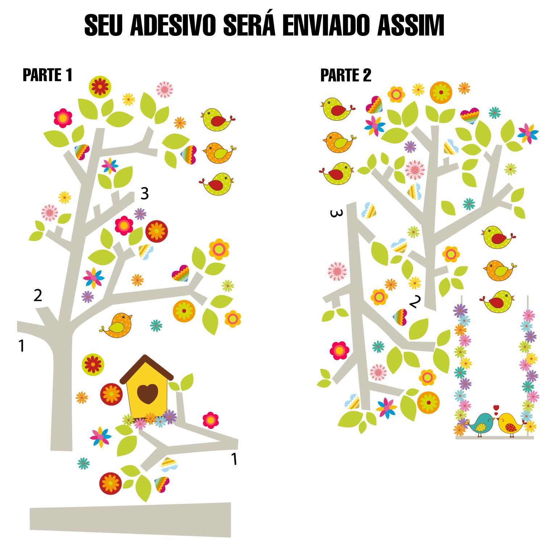 Adesivo Decorativo Infantil Árvore Pássaros Namorados