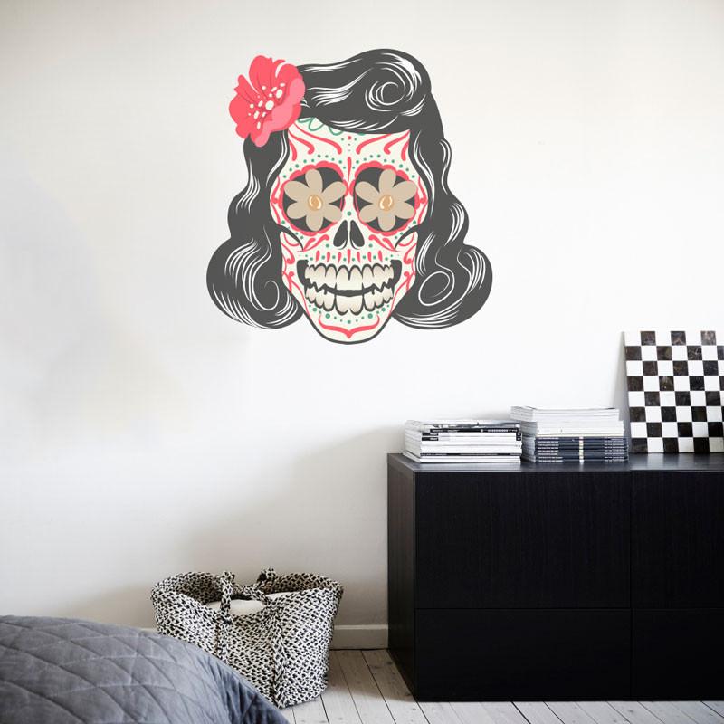 Adesivo Decorativo Caveira Mexicana Mulher