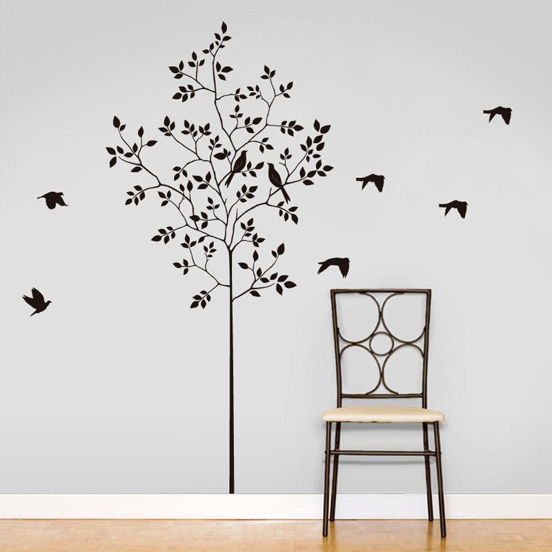 Adesivo de Parede Decorativo Árvore e Pássaros