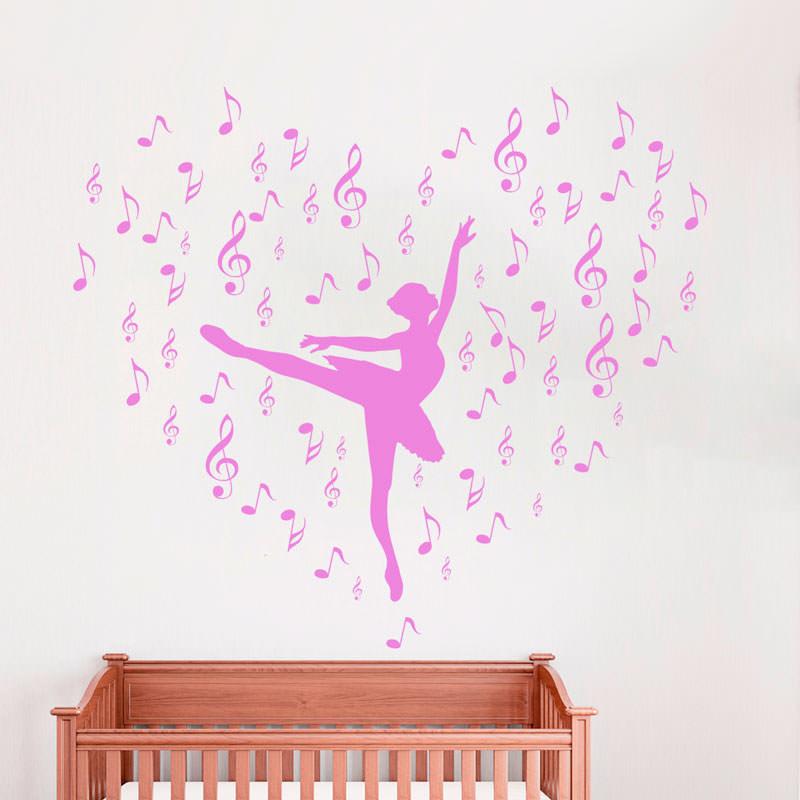 Adesivo de Parede Bailarina com Notas Musicais  bemColar  Adesivos De Parede